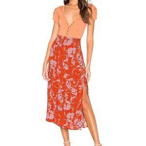 Free People Retro-inspired NWOT floral midi skirt